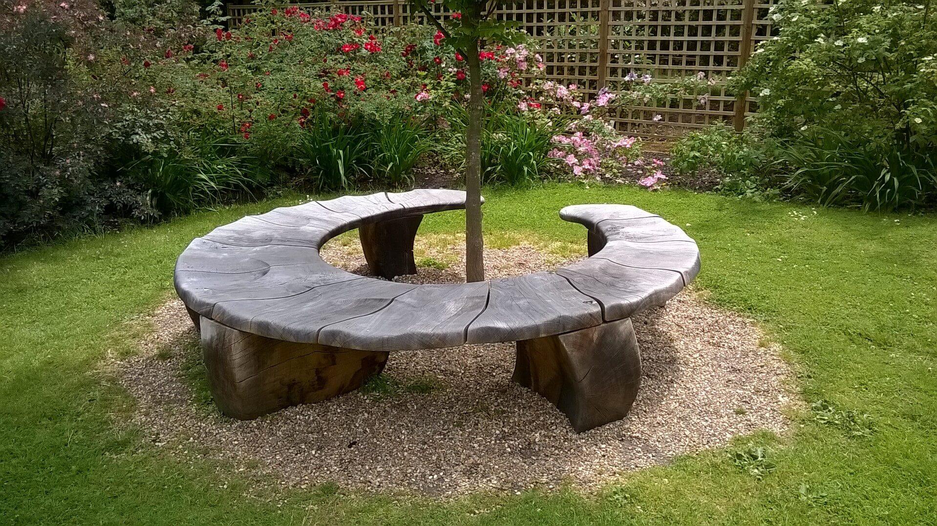 round garden bench